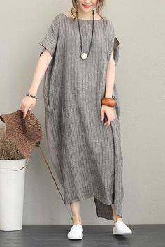 Loose Quilted Striped Maxi Dresses Women Linen Clothes - Healty fitness home cleaning Striped Maxi Dresses, Linen Dresses, Mode Russe, Womens Linen Clothing, Gypsy Clothing, Clothes For Women Over 50, Bohemian Mode, Stripes Fashion, Aesthetic Clothes