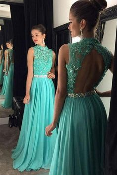 Dramatic Round Neck Open Back Floor-Length Turquoise Prom Dress with Beading Appliques