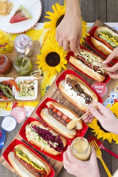 build your own hot dog spread for the 4th of july