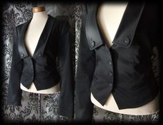 Goth Black Fitted VENOMOUS Riding Jacket Coat 14 16 Victorian Military Steampunk - £36.00