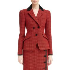 Women's Altuzarra Paladini Houndstooth Wool Jacket ($2,295) ❤ liked on Polyvore featuring outerwear, jackets, woolen jacket, red wool jacket, hounds tooth jacket, altuzarra and houndstooth jacket