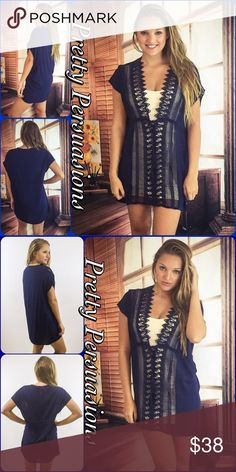 "NWT Navy Crochet Lace Plunging V-Neck Dress Tunic NWT Navy Crochet Lace Plunging V-Neck Mini Dress Tunic  Available in S, M, L Measurements taken from a small  Length: 35"" Bust: 40"" Waist: 38""  Cotton  Features • crochet lace accented front • drawstring tie waist • plunging v-neckline • short sleeves • solid back • unlined ~ white slip underneath not included • soft, breathable material  Bundle discounts available  No pp or trades  Item # 1/209210380NTD blue navy crochet Pretty Persuasions…"