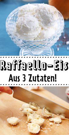 Raffaello-Eis selber machen – so einfach geht's The best idea in the world : to lick! Casserole Recipes, Cake Recipes, Dessert Recipes, Desserts, Cookies Roses, Healthy Dinner Recipes, Appetizer Recipes, Banana Split, Evening Meals