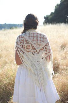 Wedding Cover Up - Bridal shawl- Cream crocheted fringe handmade vintage triangle shawl with geometric pattern