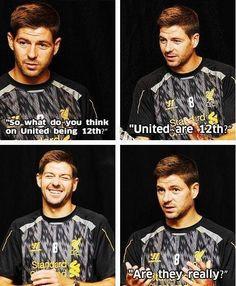 Steven Gerrard having a laugh Liverpool Football Club, Liverpool Fc, Soccer Memes, Funny Soccer, Stevie G, Premier League Soccer, Liverpool Legends, European Men, Captain Fantastic