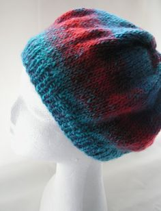 Red and Turquoise Winter Hat in Acrylic Wool by BaytreeStudio