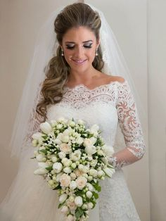 DressV Custom Made Off the Shoulder long Sleeve Lace Wedding Dress #wedding #bridal #lace #long