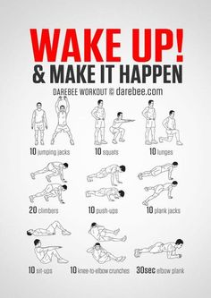 No-equipment body-weight workout for starting your morning on a high. Infamous Wake Up & Make it Happen workout. Visual guide: print & use. busy mom, healthy mom, health and fitness, healthy food, health tips Fitness Workouts, At Home Workouts, Training Workouts, Weekly Gym Workouts, Body Weight Exercises, Body Weight Workouts, Cardio Workouts, Interval Training, Fitness Weights