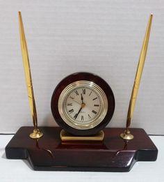 Desk Quartz Alarm Clock & 2 Pen Set - Rosewood Piano Finish with Brass Accents #Unbranded