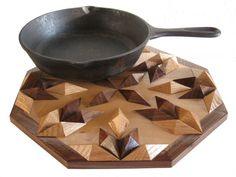 Wood Centerpiece Hot Pad  Oak and walnut hot pan by hooknsaw, $48.00
