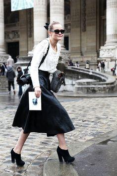 THEFASHIONALISTS: Outside - Long Leather Skirt - Paris.