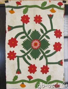 EARLY 1860/80s Album Applique Antique QUILT Crib Wall PIECE Turkey RED GREEN