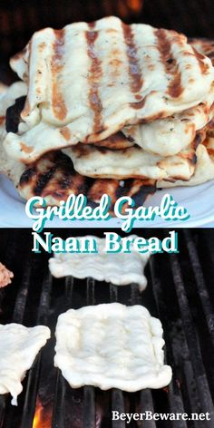 One of our favorite things in the summer is grilled garlic naan bread recipe. It is an easy to make yeast bread and cooks quickly on the grill.  #Naanbread #Grilling #BigGreenEgg
