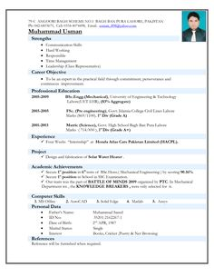 Correct Resume Format Resume Sample In Word Document Mbamarketing & Sales Fresher