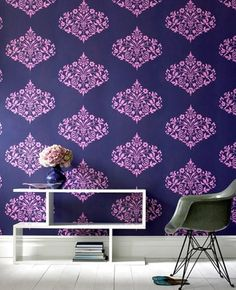 Fountain Damask Wallpaper- Beautiful but for $85 a roll, I'm going to just paint my headboard Adkins blue and stencil on a damask pattern. I've got to bridge one room that is mostly purple with another that navy and chartreuse !