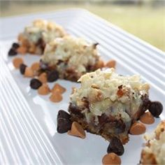 Seven Layer Magic Cookie Bars - would be like McAlister's Magic Brownie Bars if chocolate graham crackers were substituted.