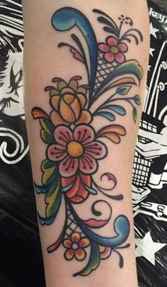 Norwegian rosemaling cherry blossom tattoo - I think I may have found my next tattoo!