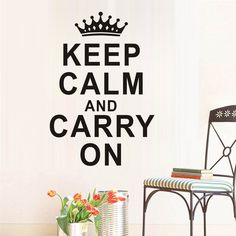 Keep Calm And Carry On Text Quotes Wall Stickers Home Decor Removable Crown Art Decals Wall Sticker For Living Room Bedroom
