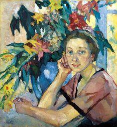Leo Putz (1869-1940) Mädchen mit Blumen, Die Scholle
