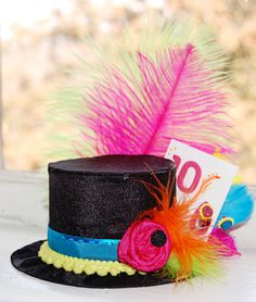 Items similar to Mad Hatter Mini Top Hat in NEON colors- Alice in Wonderland - Tea Party - Costume Birthday Photo Prop on Etsy Mad Hatter Tea, Mad Hatters, Tea Party Hats, Alice In Wonderland Tea Party, Neon Party, Neon Colors, Cute Gifts, Handmade Gifts, Party Themes