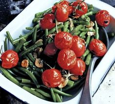 Green beans with griddled tomatoes ~   47 kcalories, protein 2.0g, carbohydrate 3.0g, fat 3.0 g, saturated fat 0.0g, fibre 2.0g, sugar 2.0g, salt 0.01 g