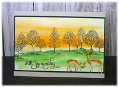 handmade card  ... sunset country scene ... Lovely as a tree ... deer ... great card