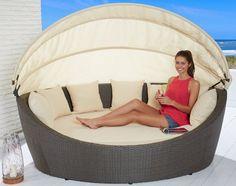 Amazon.de: Hochwertige Sonneninsel inkl. Sonnenschutz Strandkorb Muschel Garten Polyrattan Garten Lounge platzsparend und flexibel