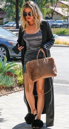 KhloeKardashianStyle: #KhloeKardashian arrives Thousand Oaks studio in #givenchy fur slides on August 12 2016. #dailylook BALENCIAGA Papier A6 Aj Zip-Around Shearling Fur Tote Bag, Maroon GIVENCHY Mink Fur & Rubber Slide Sandal, Black