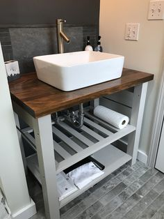 Check out this vintage butcher block island upcycled into a vanity by Innovintage Place! Vanity Countertop, Countertops, Butcher Block Island, Happy Elephant, Vintage Fairies, Bathroom Renos, Wabi Sabi, Upcycle, Craft Projects