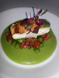 Not one to waste Chef Giacomo Pasquini creates an incredible sauce for this perfectly cooked fish out of the shells of fresh peas. He says all the oils and flavour are in them.