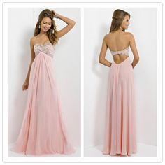 Hot Sales Sweetheart Empire A Line Open Back Floor Length Beaded Bodice Prom Dresses