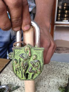 Brass Lock with Tribal figures