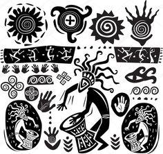 Descargar - Conjunto de elementos en el estilo del arte primitivo — Ilustración de stock #6338194