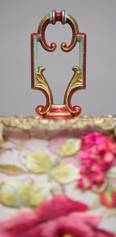 finial detail of Victorian Lampshade with Rose Embroidery