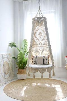 Macrame Hanging Chair, Macrame Chairs, Hanging Swing Chair, Hammock Swing Chair, Macrame Art, Macrame Design, Macrame Projects, Swinging Chair, Hanging Chairs