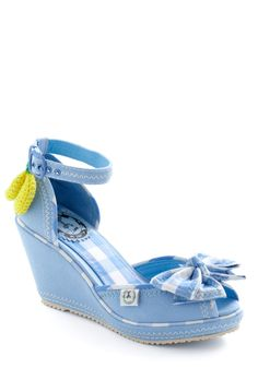 Fruit as a Button Wedge by Miss L Fire - Vintage Inspired, Blue, Yellow, White, Checkered / Gingham, Bows, 50s, Wedge