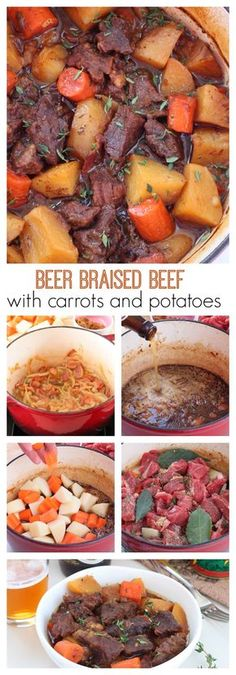 Beer braised beef with carrots and potatoes recipe Flavorful beer braised beef with carrots and potatoes, cooked slow and low in the oven is an effortless weeknight meal. One bite of this tender, juicy, tad spicy beef is going to send you over the moon. Potato Recipes, Meat Recipes, Cooker Recipes, Crockpot Recipes, Sirloin Recipes, Kabob Recipes, Fondue Recipes, Dutch Oven Cooking, Dutch Oven Recipes