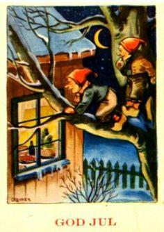 Julekort Birger Cranner 1940s Christmas Postcards, Christmas Images, Christmas Cards, 1940s, Norway, Painting, Art, Costumes, Christmas E Cards