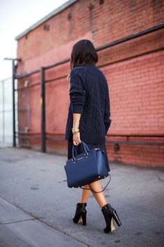 sweater, midi skirt, ankle boots / michael kors / fall
