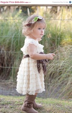 SALE Ivory with Taupe Sash Flower Girl Dress by EverythingRuffles, $45.50