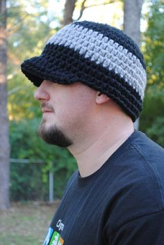 Adult men's crocheted chunky beanie with brim by NessasYarnTherapy,