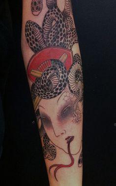Japanese Medusa | free hand work by Gakkin,kyoto. work in Br… | Flickr - Photo Sharing!