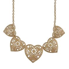 Fashion Golden Color Necklace Personalized Heart Shaped Clusters Necklaces