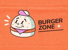 Burger Zone by Ovcharka Industries Burger Branding, Food Branding, Brand Identity Design, Branding Design, Burger Cartoon, Mascot Design, Science Fiction Art, Logo Design Inspiration, Retro Design