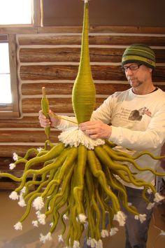 Joel S. Allen, Hooked on Svelte: Evolution Sculpture Textile, Textile Fiber Art, Textile Artists, Soft Sculpture, Artistic Installation, Needle Felted, Yarn Bombing, Felt Art, Art Plastique