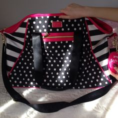 Betsy Johnson large duffle bag NWOT Very cute large duffle bag no marks.  Never used cute pompom on side very roomy Betsy johnson Bags Totes