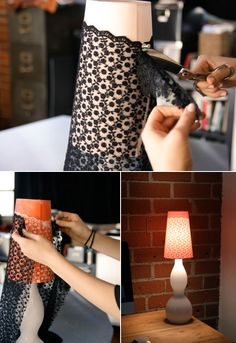 Now that's a thought - spray painting over lace or other pattern.    Cool Lamp Shade Ideas  http://www.kidskubby.com/cool-lampshade-ideas/