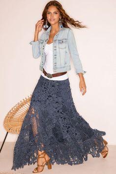 Maxi Skirt Boho, Bohemian Skirt, Boho Skirts, Bohemian Style, Lace Skirt Outfits, Dress Lace, Jean Skirts, Denim Skirts, Lace Maxi Skirts