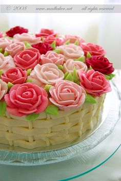 beautiful, love the basket weave ~ For My 10th birthday My Mom had a May Basket cake made for me that looked almost exactly like this, The flowers were a mix of spring, I remember the pansies the most!