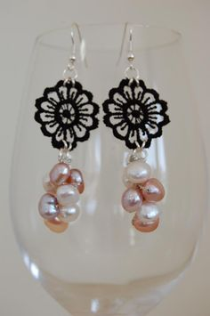 Hopeless Romantic Earrings -ML100E  Dramatic, elegant earrings featuring multicolored natural pearls and black lace flowers. Wear them to a wedding or to dress a sexy black tank-top and jeans. Silver-plated earring base. Crocheted with metallic silver thread.  Please note that this item is MADE TO ORDER. Melissa can make a similar pair for you. No two handmade items will turn out exactly the same.   $46.00  http://www.melissajewelrydesign.com/earrings/hopeless-romantic